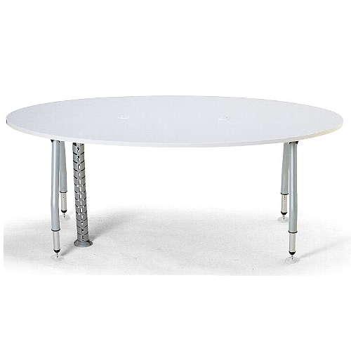【廃番】テーブル(会議用) アイコ 天板上下昇降式 4本固定脚 SHWT-1890EP W1800×D900×H665~725(mm) タマゴ形(卵形)天板 ワイヤリングテーブルのメイン画像