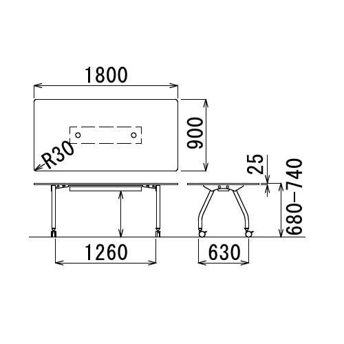 【廃番】テーブル(会議用) アイコ 天板上下昇降式 キャスター脚 SHWT-1890KC W1800×D900×H680~740(mm) 角形天板 ワイヤリングテーブル商品画像3