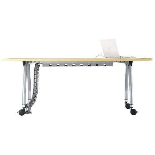 【廃番】テーブル(会議用) アイコ 天板上下昇降式 キャスター脚 SHWT-1890KC W1800×D900×H680~740(mm) 角形天板 ワイヤリングテーブル商品画像4
