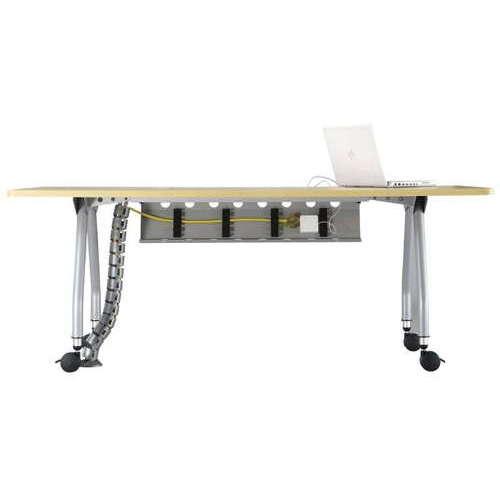 【廃番】テーブル(会議用) アイコ 天板上下昇降式 キャスター脚 SHWT-1890KC W1800×D900×H680~740(mm) 角形天板 ワイヤリングテーブル商品画像5