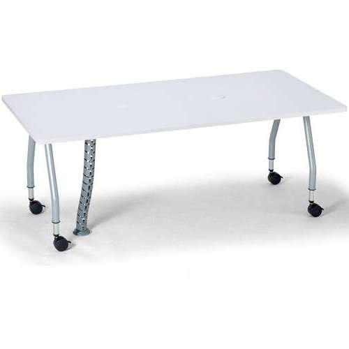 【廃番】テーブル(会議用) アイコ 天板上下昇降式 キャスター脚 SHWT-1890KC W1800×D900×H680~740(mm) 角形天板 ワイヤリングテーブルのメイン画像