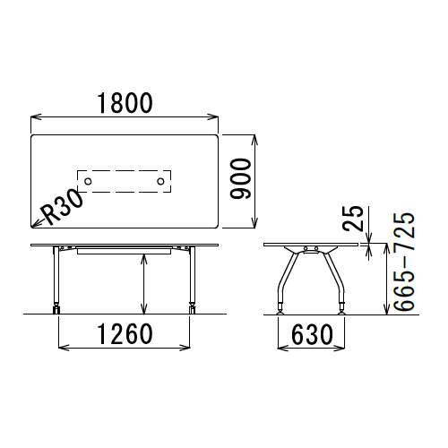 【廃番】テーブル(会議用) アイコ 天板上下昇降式 4本固定脚 SHWT-1890KP W1800×D900×H665~725(mm) 角形天板 ワイヤリングテーブル商品画像3