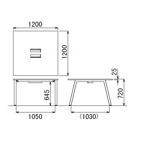 会議用テーブル SLTB-1212 W1200×D1200×H720(mm) ブラックカラー粉体塗装4本脚テーブル コードホール付き商品画像4
