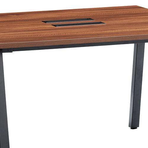 会議用テーブル SLTB-1212 W1200×D1200×H720(mm) ブラックカラー粉体塗装4本脚テーブル コードホール付き商品画像10