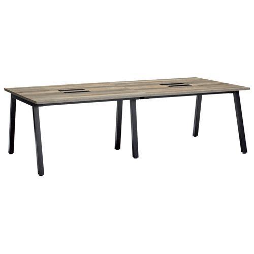 会議用テーブル SLTB-2412 W2400×D1200×H720(mm) ブラックカラー粉体塗装4本脚テーブル コードホール付き商品画像2