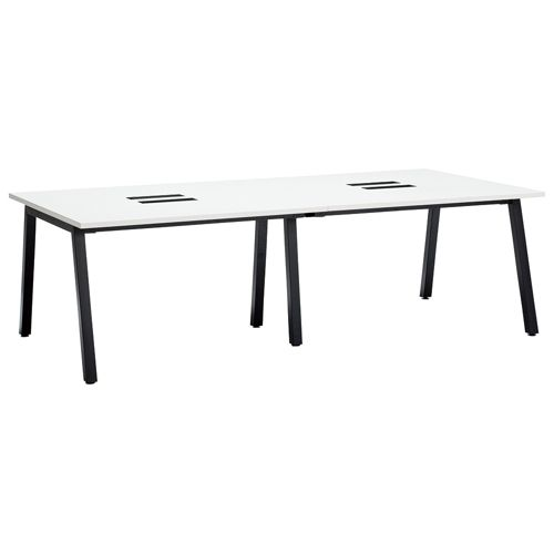 会議用テーブル SLTB-2412 W2400×D1200×H720(mm) ブラックカラー粉体塗装4本脚テーブル コードホール付き商品画像3