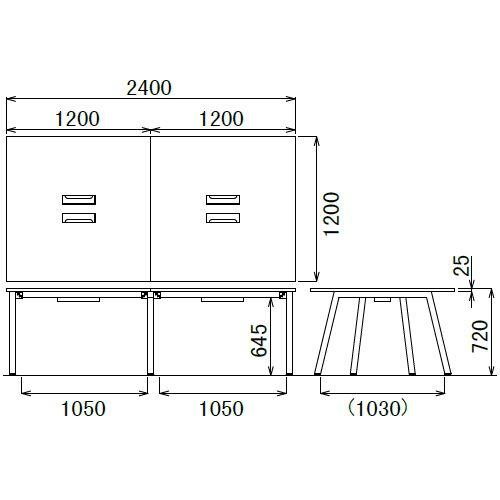 会議用テーブル SLTB-2412 W2400×D1200×H720(mm) ブラックカラー粉体塗装4本脚テーブル コードホール付き商品画像4