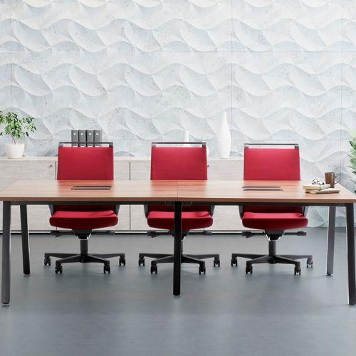 会議用テーブル SLTB-2412 W2400×D1200×H720(mm) ブラックカラー粉体塗装4本脚テーブル コードホール付き商品画像9