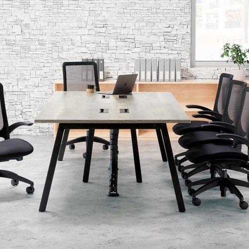 会議用テーブル SLTB-2412 W2400×D1200×H720(mm) ブラックカラー粉体塗装4本脚テーブル コードホール付き商品画像10