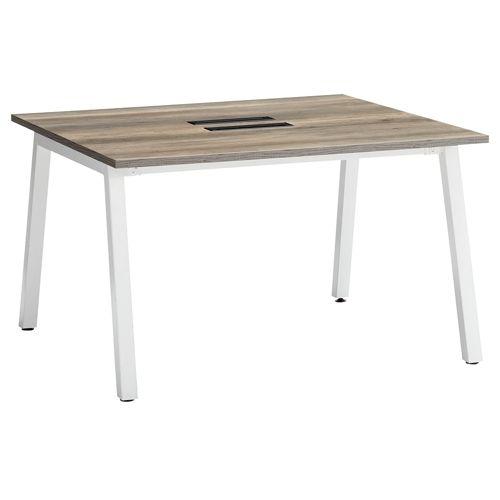 会議用テーブル SLTW-1212 W1200×D1200×H720(mm) ホワイトカラー粉体塗装4本脚テーブル コードホール付き商品画像2