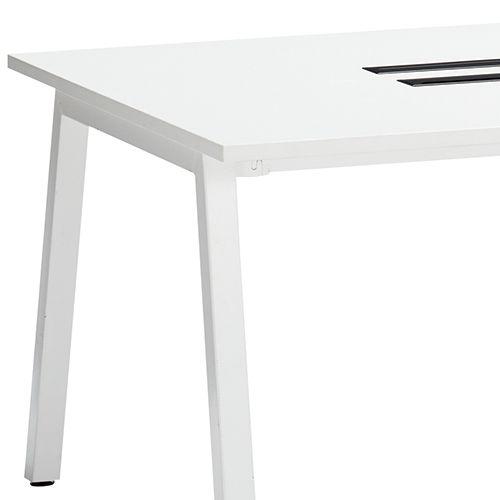会議用テーブル SLTW-1212 W1200×D1200×H720(mm) ホワイトカラー粉体塗装4本脚テーブル コードホール付き商品画像10