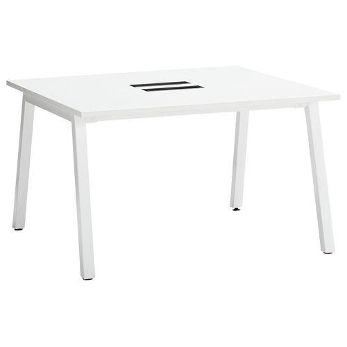 会議用テーブル SLTW-1212 W1200×D1200×H720(mm) ホワイトカラー粉体塗装4本脚テーブル コードホール付きのメイン画像