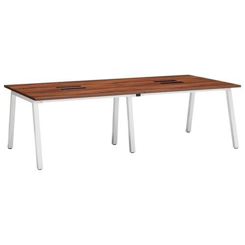 会議用テーブル SLTW-2412 W2400×D1200×H720(mm) ホワイトカラー粉体塗装4本脚テーブル コードホール付き商品画像3