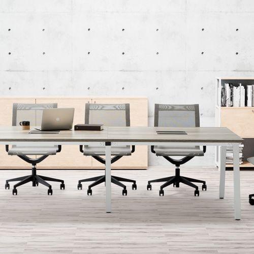 会議用テーブル SLTW-2412 W2400×D1200×H720(mm) ホワイトカラー粉体塗装4本脚テーブル コードホール付き商品画像8