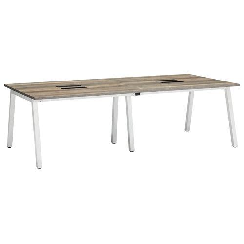 会議用テーブル SLTW-2412 W2400×D1200×H720(mm) ホワイトカラー粉体塗装4本脚テーブル コードホール付きのメイン画像