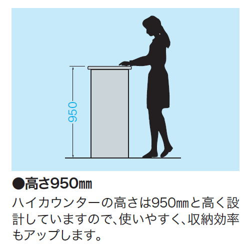 【WEB販売休止中】カウンター ハイカウンター ナイキ SNC型 オープンタイプ SNC0990N W900×D460×H950(mm)商品画像8