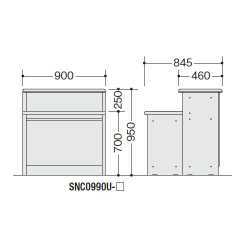 【WEB販売休止中】カウンター 受付カウンター ナイキ SNC型 ハイカウンター SNC0990U W900×D845×H950(mm)商品画像4