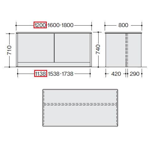 【WEB販売休止中】カウンター 車椅子対応 ローカウンター SNC型 SNC1280C W1200×D800×H740(mm)商品画像2