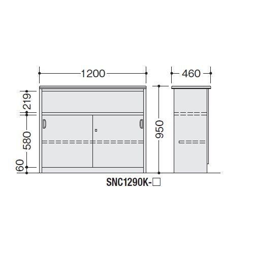 【WEB販売休止中】カウンター ハイカウンター ナイキ SNC型 錠付き・棚付きタイプ SNC1290K W1200×D460×H950(mm)商品画像4