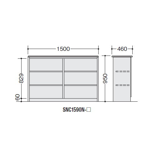 【WEB販売休止中】カウンター ハイカウンター ナイキ SNC型 オープンタイプ SNC1590N W1500×D460×H950(mm)商品画像3