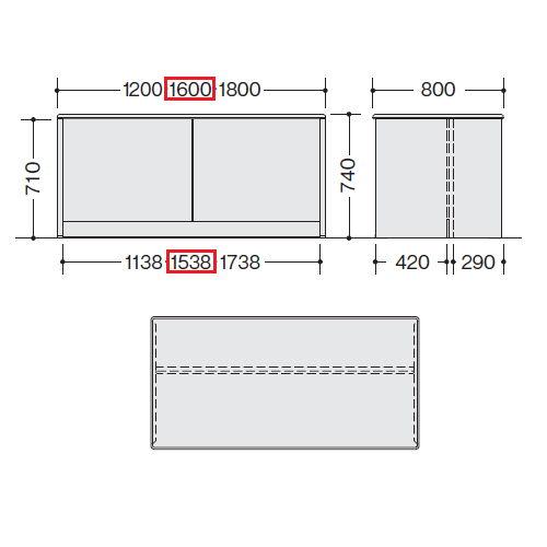 カウンター 車椅子対応 ローカウンター SNC型 SNC1680C W1600×D800×H740(mm)商品画像2