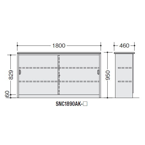 【WEB販売休止中】カウンター ハイカウンター ナイキ SNC型 錠付き・総扉タイプ SNC1890AK W1800×D460×H950(mm)商品画像3