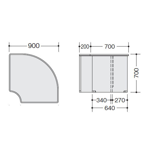 カウンター 外ローコーナー90° SNC型 ローカウンター SNCR9070 W900×D900×H700(mm)商品画像4