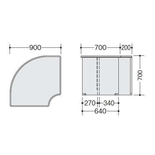 【WEB販売休止中】カウンター 内ローコーナー90° ナイキ SNC型 ローカウンター SNCR9071 W900×D900×H700(mm)商品画像4