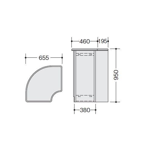 【WEB販売休止中】カウンター 外ハイコーナー90° ナイキ SNC型 ハイカウンター SNCR9090 W655×D655×H950(mm)商品画像4