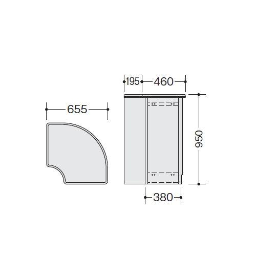 【WEB販売休止中】カウンター 内ハイコーナー90° ナイキ SNC型 ハイカウンター SNCR9091 W655×D655×H950(mm)商品画像4