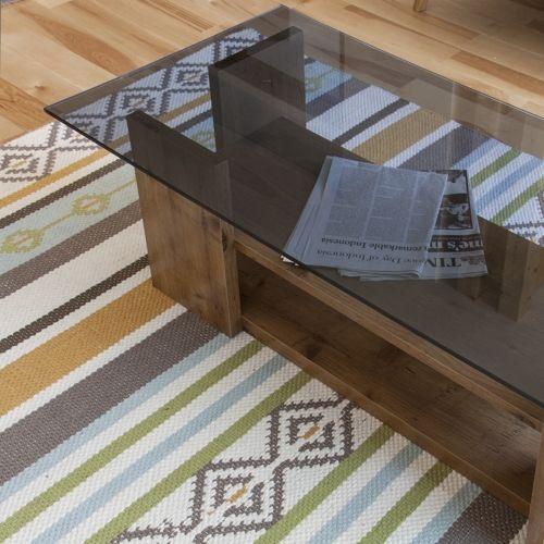 センターテーブル SO-100NA 8mm強化スモークガラス ナチュラルカラー W1000×D500×H340(mm)商品画像5