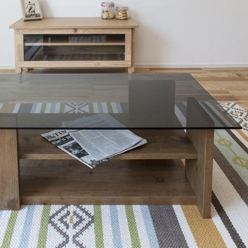 センターテーブル SO-100NA 8mm強化スモークガラス ナチュラルカラー W1000×D500×H340(mm)商品画像7