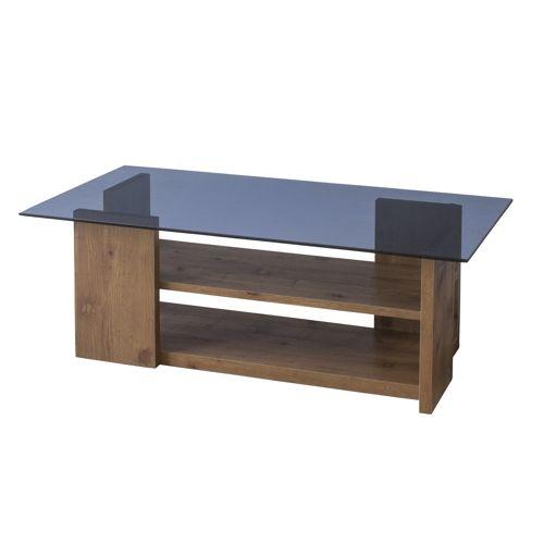 センターテーブル SO-100NA 8mm強化スモークガラス ナチュラルカラー W1000×D500×H340(mm)のメイン画像