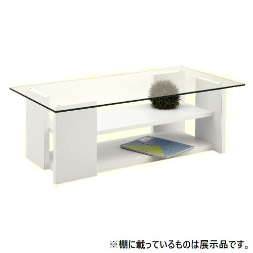 センターテーブル SO-100WH 8mm強化ガラス ホワイトカラー W1000×D500×H340(mm)のメイン画像