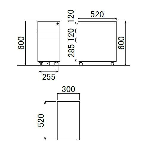 ワゴン ブラックカラー 3段 SWG-300B W300×D520×H600(mm) インワゴン3段 キャスタータイプ商品画像2