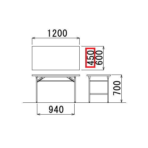 折りたたみテーブル 共貼り Tテーブル T-1245 W1200×D450×H700(mm)商品画像3