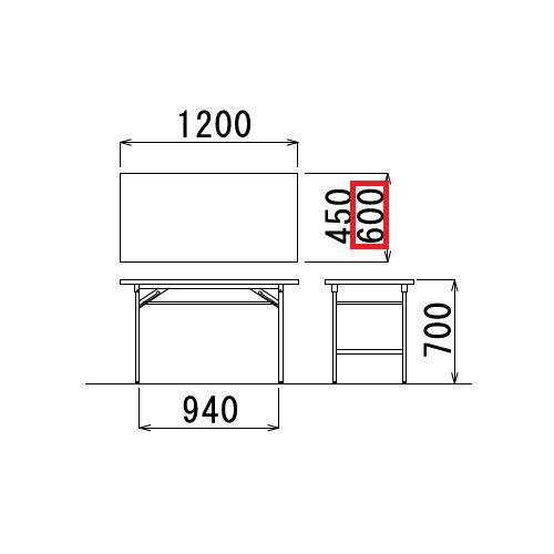 折りたたみテーブル 共貼り Tテーブル T-1260 W1200×D600×H700(mm)商品画像3