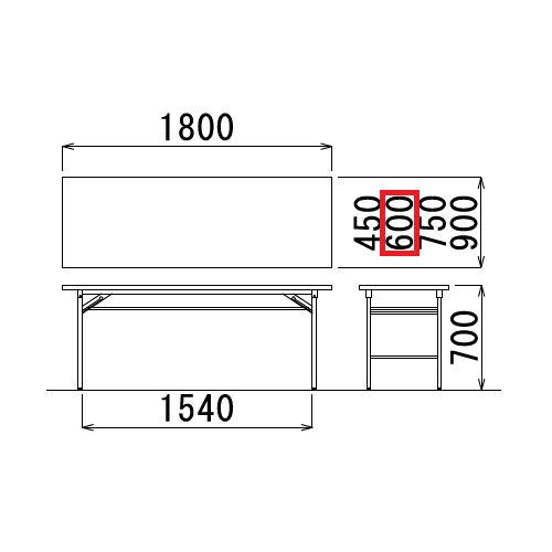 折りたたみテーブル 共貼り Tテーブル T-1860 W1800×D600×H700(mm)商品画像3