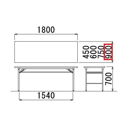 折りたたみテーブル 共貼り Tテーブル T-1890 W1800×D900×H700(mm)商品画像3