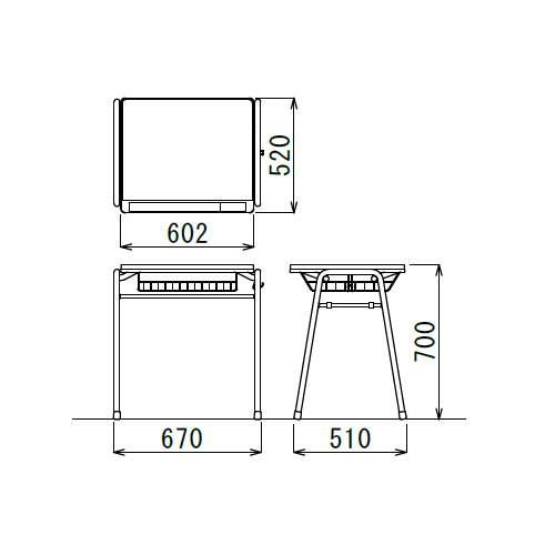 学校(スクール)家具 アイコ スクール・セミナーデスク 学習机 TMT-6052 W670×D510×H700(mm)商品画像5
