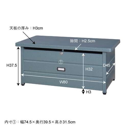 センターテーブル スチール製 TPN-35 ラルド ストレージ ハンマートーン仕上げ W900×D490×H400(mm)商品画像4