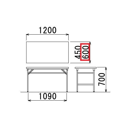 折りたたみテーブル 共貼り ワイド脚 TW-1260 W1200×D600×H700(mm)商品画像3