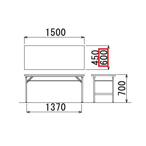 折りたたみテーブル 共貼り ワイド脚 TW-1560 W1500×D600×H700(mm)商品画像2