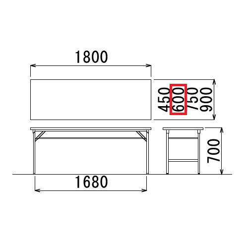 折りたたみテーブル 共貼り ワイド脚 TW-1860 W1800×D600×H700(mm)商品画像3