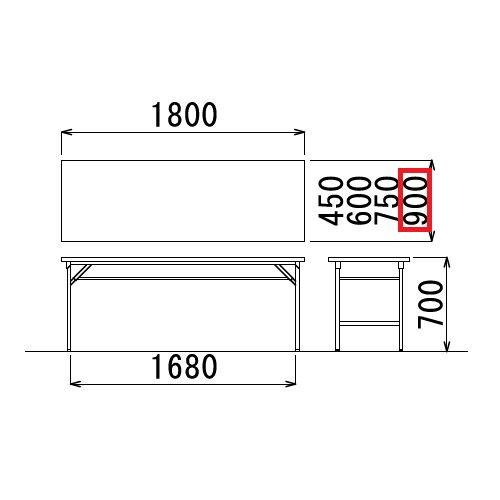 折りたたみテーブル 共貼り ワイド脚 TW-1890 W1800×D900×H700(mm)商品画像3