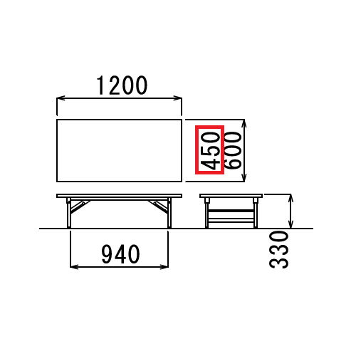 折りたたみテーブル 座卓 共貼り TZテーブル TZ-1245 W1200×D450×H330(mm)商品画像3