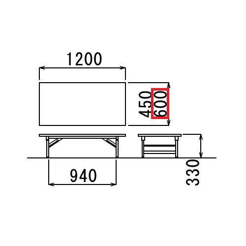折りたたみテーブル アイコ 座卓 ソフトエッジ TZ-1260SE W1200×D600×H330(mm)商品画像3