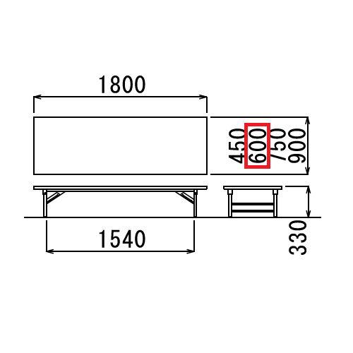 折りたたみテーブル アイコ 座卓 共貼り TZテーブル TZ-1860 W1800×D600×H330(mm)商品画像3