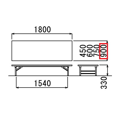 折りたたみテーブル アイコ 座卓 ソフトエッジ TZ-1890SE W1800×D900×H330(mm)商品画像3