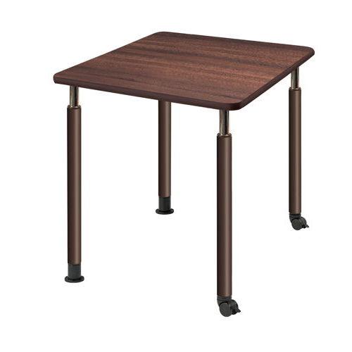 介護テーブル 天板上下昇降式 2本キャスター脚・2本固定脚 UFT-0909B W900×D900×H596~796(mm)のメイン画像
